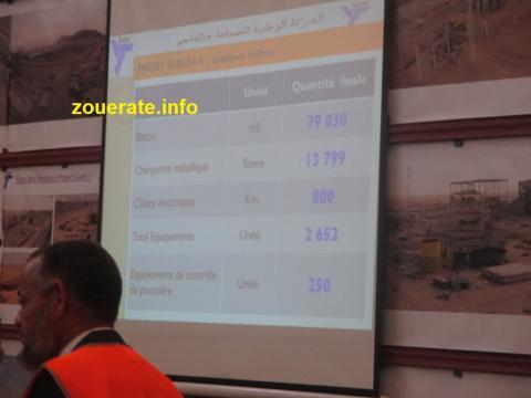 بعض المعلومات الفنية عن انجاز المشروع أثناء عرضها من قبل مدير المشروع محمد ولد اكريكد