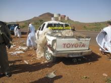 سيارة النقل في مكان الحادث