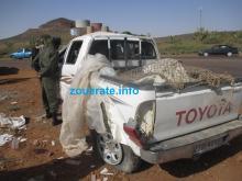 السيارة التي أصيب فيها السائق